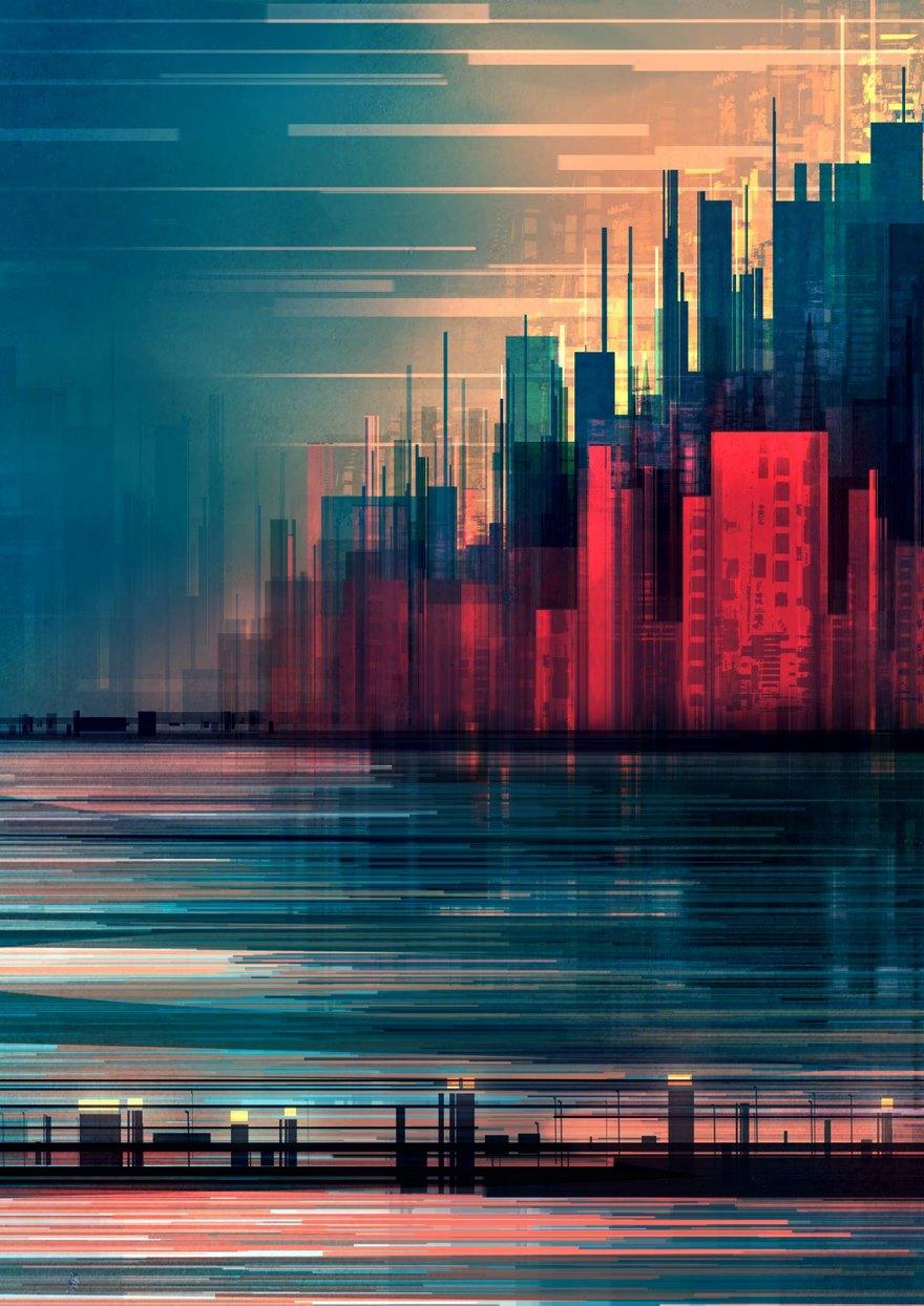 Questo illustratore disegna dei meravigliosi e futuristici paesaggi geometrici